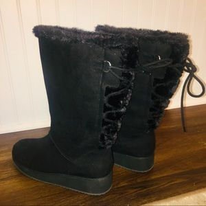 Rampage Rebecca Black Wedge Fur Lace Up Boot